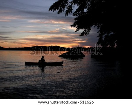 Canoe at Sunset, Beech Hill Pond, Maine