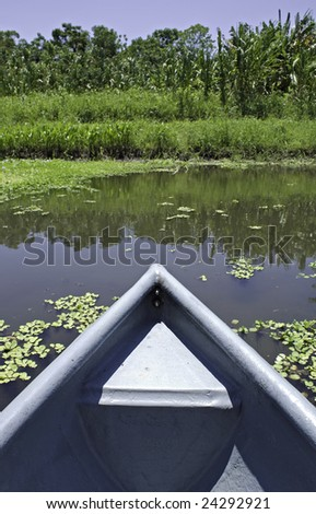 Canoe bow in exotic waters, with tropical vegetation.