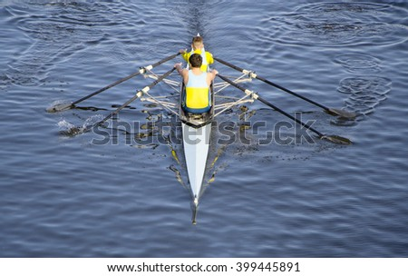canoe competition in a beautiful lake in italy - stock photo