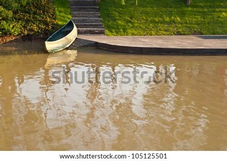 Canoe in the lake - stock photo