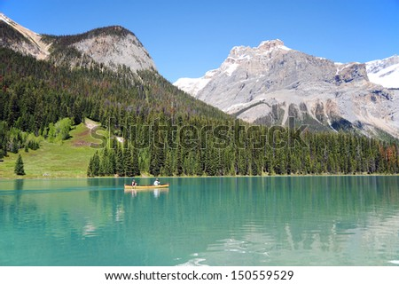 Canoe on Emerald Lake in Banff National Park in Alberta, Canada