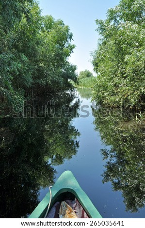 Canoeing in the Danube delta, Romania - stock photo