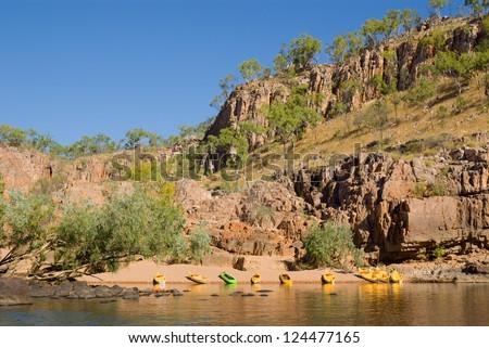 Canoes on beach in Katherine Gorge, Northern Territory, Australia - stock photo