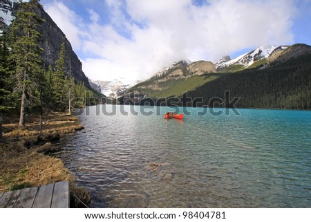 Canoes on Lake Louise. Canada
