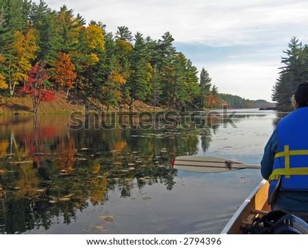 Canoing at Freeland Lake - stock photo