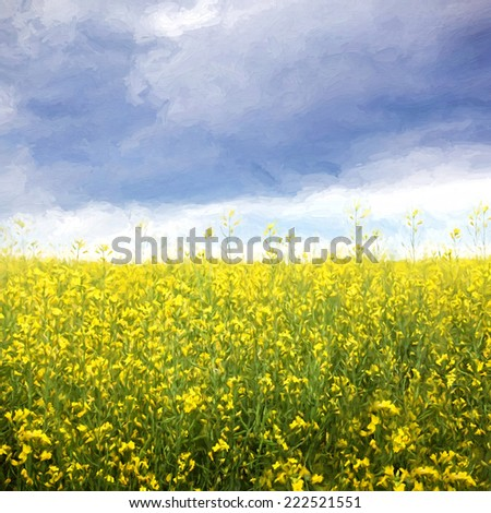 Canola flower field with storm clouds in background/digital painting - stock photo