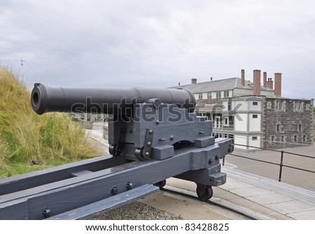 canon at Citadel Hill with the historic building in the background, Halifax, Nova Scotia Canada - stock photo