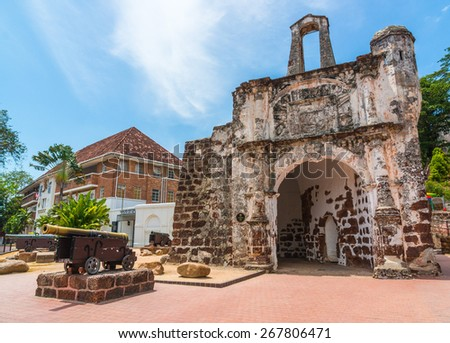 Canon at fort Formoza at Malacca, World Heritage city - stock photo