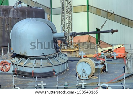 Canon's bow in a war frigate - stock photo