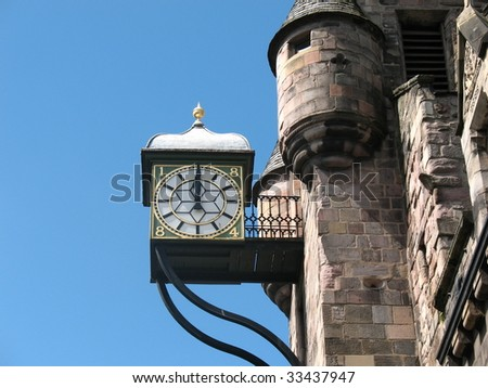 canongate tolbooth clock on the royal mile edinburgh - stock photo