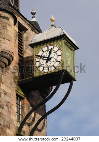 Canongate Tolbooth Clock on the Royal Mile, Edinburgh, Scotland - stock photo