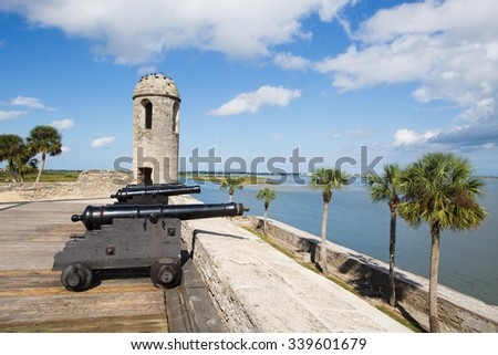 Canons at Castillo de San Marcos, St. Augustine, Florida - stock photo