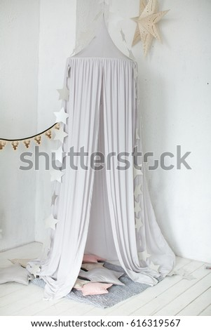 canopy with pillows and hanging stars & Canopy Pillows Hanging Stars Stock Photo 616319567 - Shutterstock