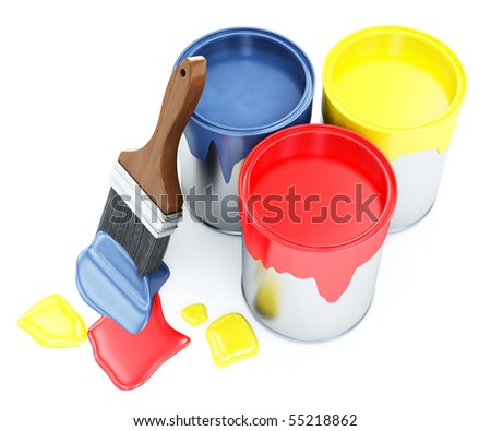 Cans and brush - stock photo