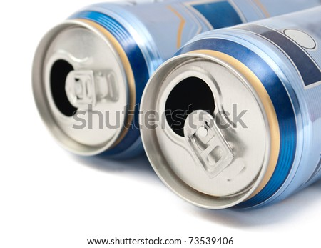 cans of beer on white background - stock photo