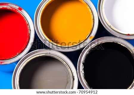 cans of paint - stock photo
