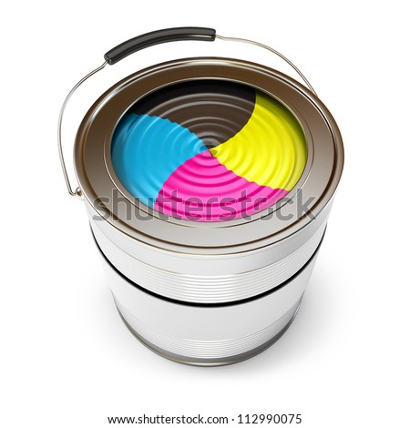 Cans of paint (CMYK Concept). Isolated on white background. 3d render - stock photo