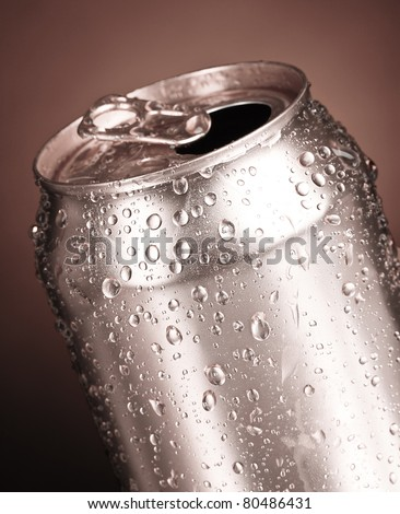 cans on a gray background - stock photo