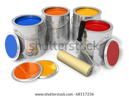 Cans with color paint and roller brush - stock photo