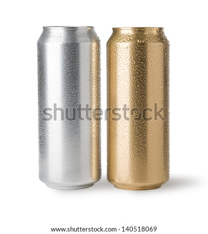 cans with water drops isolated on white - stock photo