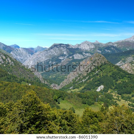 """Cantabrian Mountains in the park """"Peak of Europe"""", Asturias. Spain. - stock photo"""