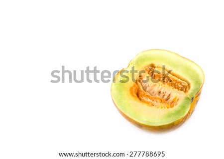 Cantaloupe cut in half  isolated on white background - stock photo