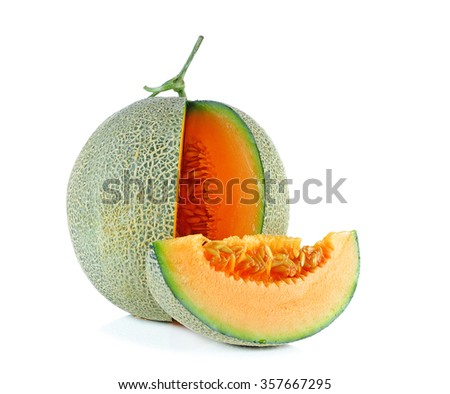 cantaloupe melon isolate on a white background.