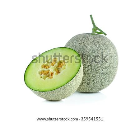 cantaloupe melon isolated on the white background. - stock photo