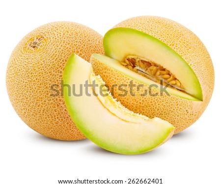 cantaloupe melon isolated on white - stock photo