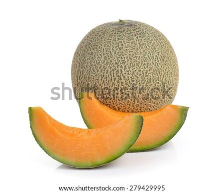 cantaloupe melon isolated on white background - stock photo