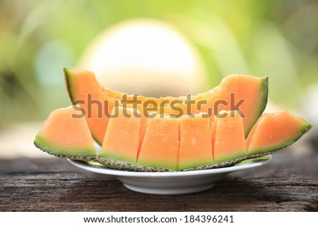 cantaloupe melon slices - stock photo