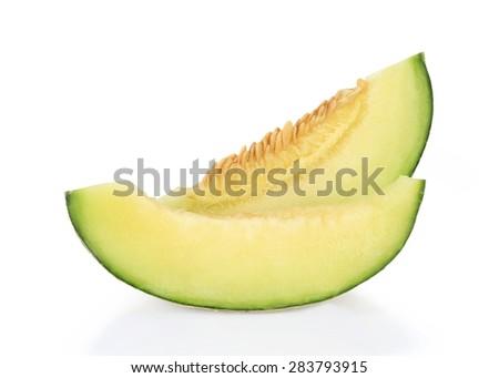 cantaloupe melon slices - stock photo