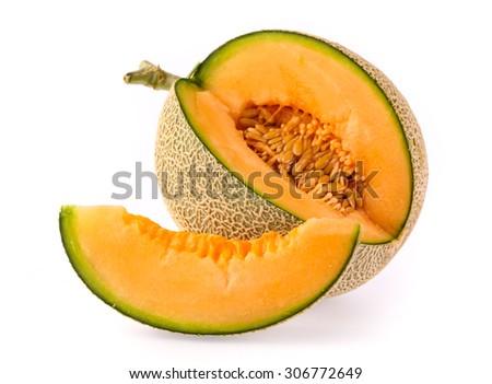 cantaloupe melon slices isolated on white background - stock photo