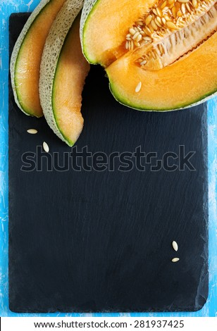 Cantaloupe melon slices. Top view - stock photo