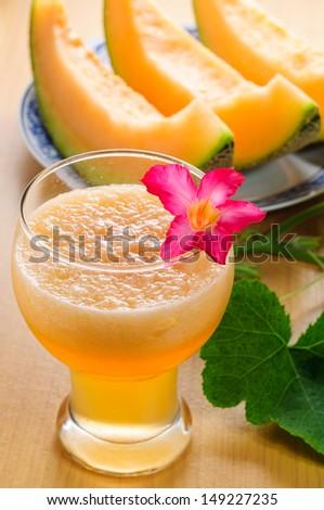 cantaloupe melon smoothies - stock photo