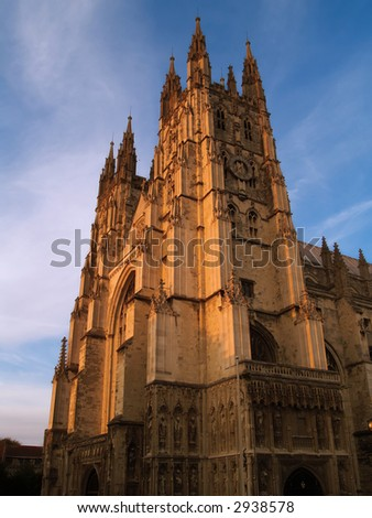 Canterbury Cathedral at sunset - stock photo