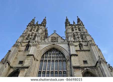 Canterbury cathedral under sunny sky - stock photo