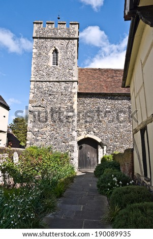 CANTERBURY,UK-APRIL 17: Canterbury's St Peters Church built over 900 years ago in the heart of the famous city.Canterbury is one of the top visitor destinations in the UK. April 17, 2014 Canterbury UK - stock photo