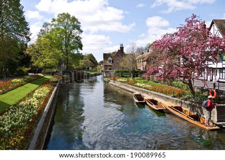 CANTERBURY,UK-APRIL 17: The  beautiful Westgate  Gardens next to the river Stour in the historic city of Canterbury.Canterbury has just been crowned UK's city of Romance.April 17 2014, Canterbury UK - stock photo