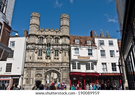 CANTERBURY,UK-APRIL 17: The Famous Canterbury Cathedral gates built in the 1500's Canterbury is a UNESCO World Heritage Site and now crowned UK's city of Romance. APRIL 17, 2014 Canterbury UK - stock photo