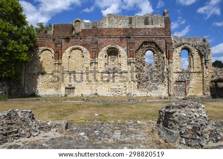 CANTERBURY, UK - JULY 19TH 2015: The remains of the historic St. Augustines Abbey in Canterbury, Kent on 19th July 2015. - stock photo
