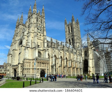 CANTERBURY, UNITED KINGDOM - APRIL 20, 2012: Canterbury Anglican Cathedral and visiting tourists in Springtime. - stock photo