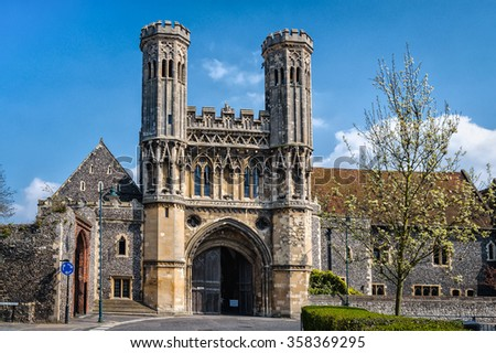Canterbury, United Kingdom April 21, 2013: Gate of St Augustine's Abbe in Canterbury as seen on 21st of April, 2013 - stock photo