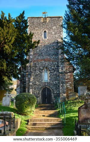 Canterbury, United Kingdom - December 23, 2015: St Martin's Church in Canterbury, the first church founded in England as seen on 23rd of December, 2015