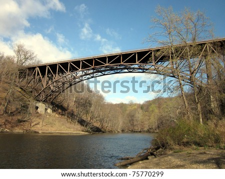 Cantilever Bridge and small river running to Hudson - stock photo