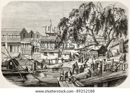 Canton boat station, China, in front of Spanish and French residences. Created by De Bar after Borget, published on L'Illustration, Journal Universel, Paris, 1858 - stock photo