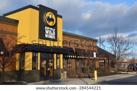 CANTON, MI - DECEMBER 30:  Buffalo Wild Wings, whose Canton location is shown on December 30, 2014, has over 800 restaurants.  - stock photo