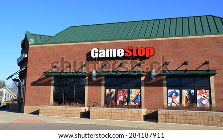 CANTON, MI - DECEMBER 29:  GameStop, whose Canton location is shown on December 29, 2014, has over 6,000 stores worldwide. - stock photo