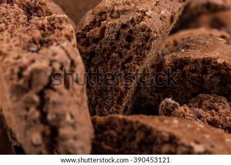 Cantucci with chocolate pieces close up as a background