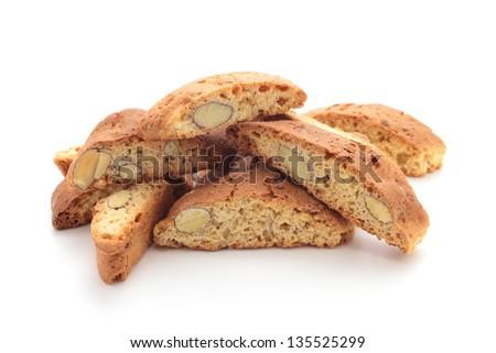 Cantuccini alla mandorla, italian cookies - stock photo
